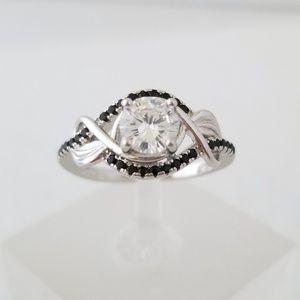 Sterling Black Spinel Leaf Design Ring